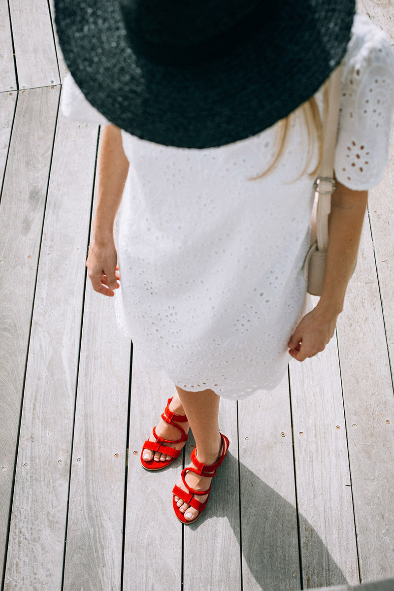 Red Strappy Sandals