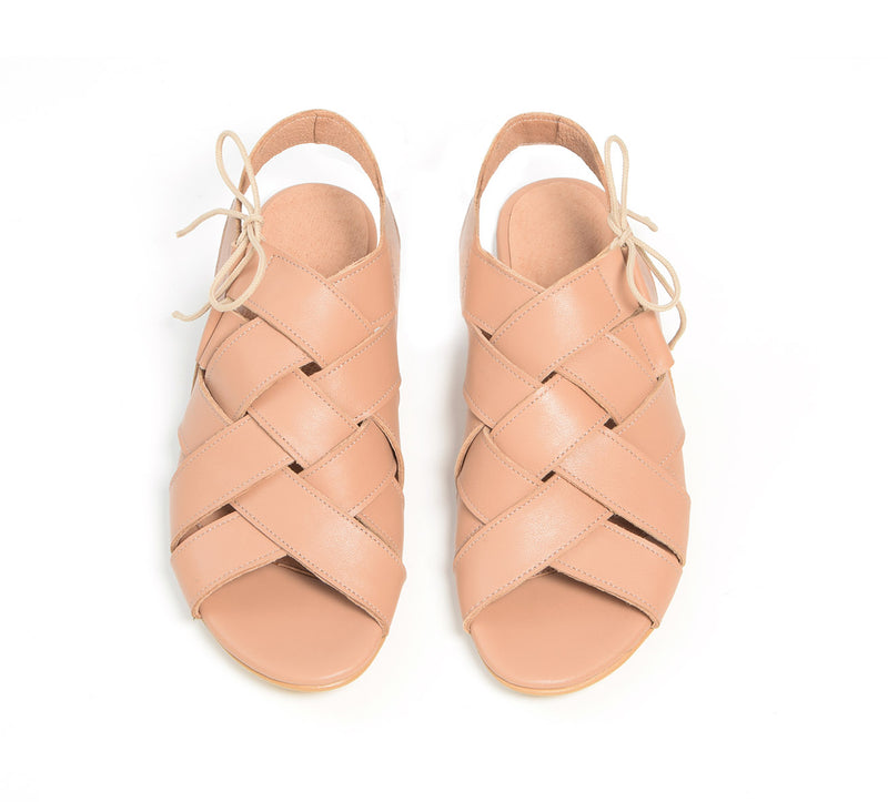 Palm tree sandals in tan color