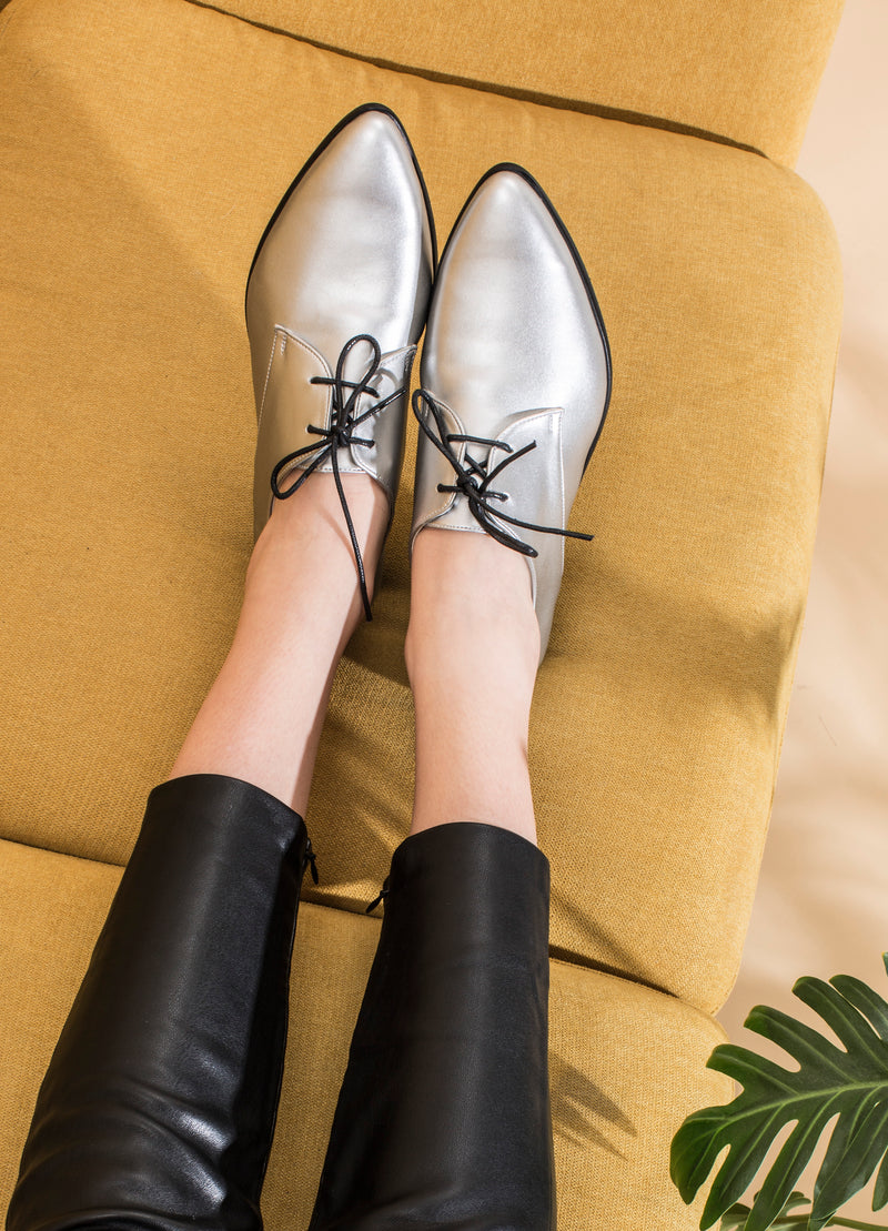 Vegan Silver Oxfords