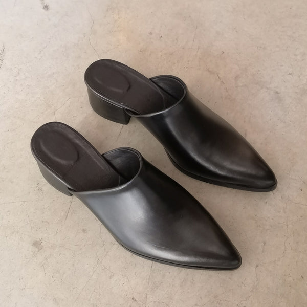 Black Mules Covered Heel 5 cm
