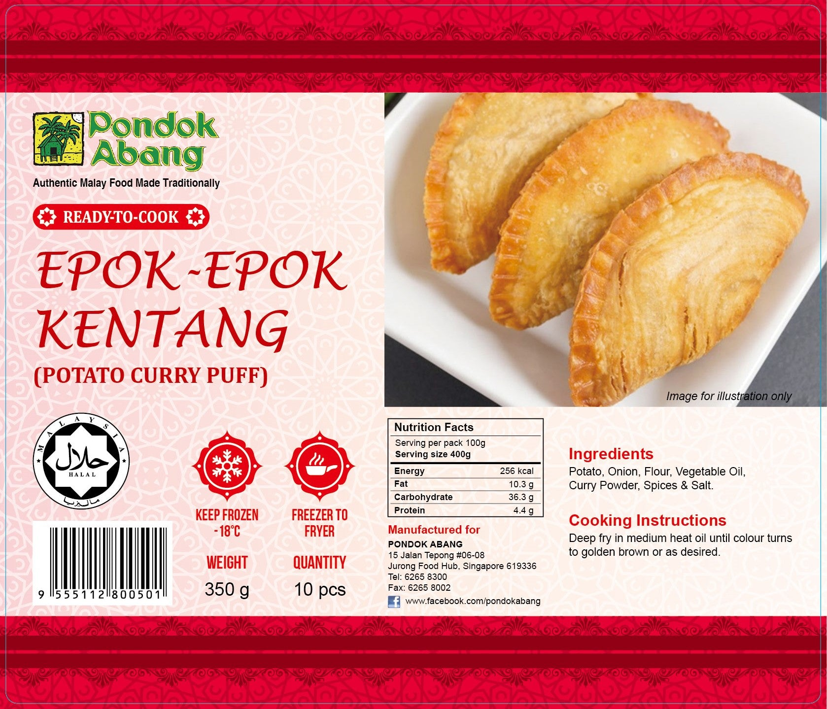 Potato Curry Puffs 10pcs (Epok-Epok Kentang 10pcs)