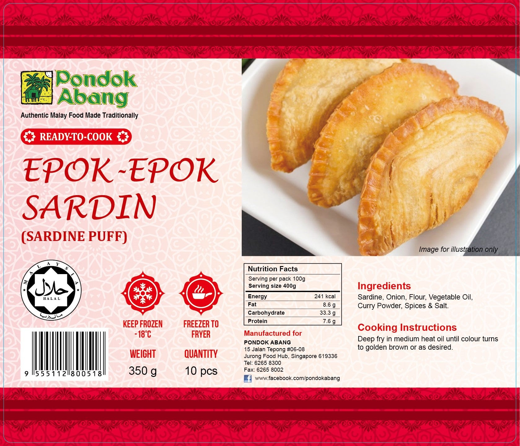Sardine Curry Puffs 10pcs (Epok-Epok Sardin 10pcs)