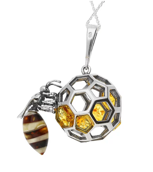 Sterling Silver Amber Honeycomb Bee Necklace