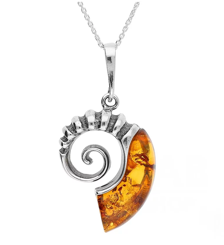Sterling Silver Amber Small Ammonite Necklace