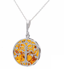 Load image into Gallery viewer, Sterling Silver Amber Tree of Life Necklace