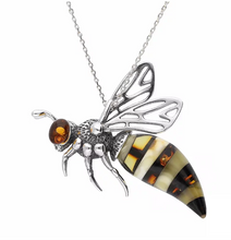 Load image into Gallery viewer, Sterling Silver Amber Bee Necklace