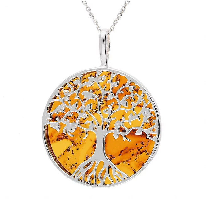 Sterling Silver Amber Large Tree Of Life Necklace