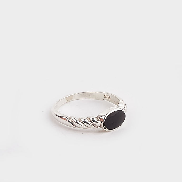 Whitby Jet Twist Ring