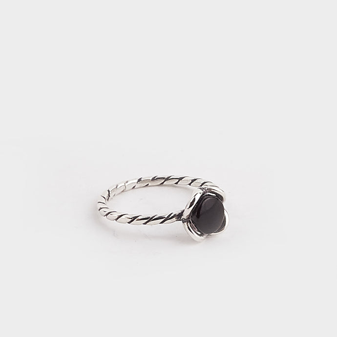 Whitby Jet Wire Flower Ring