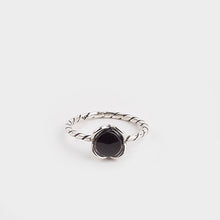 Load image into Gallery viewer, Whitby Jet Wire Flower Ring