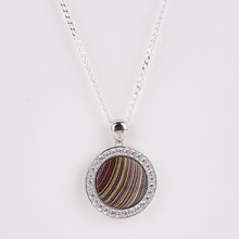 Load image into Gallery viewer, Double Sided Whitby Jet & Fordite Large CZ Pendant