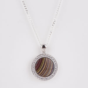 Double Sided Whitby Jet & Fordite Large CZ Pendant