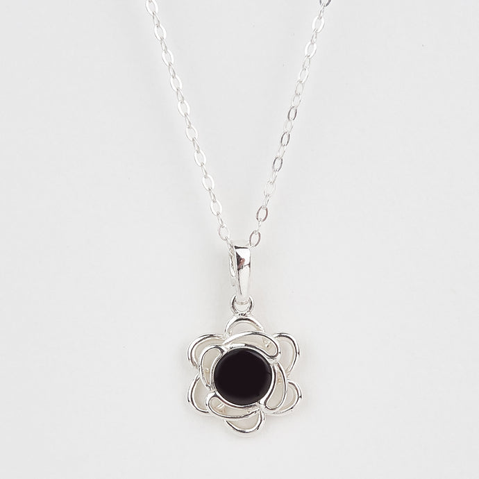 Whitby Jet Small Flower Pendant