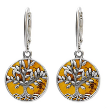 Load image into Gallery viewer, Amber Tree Of Life Drop Earrings