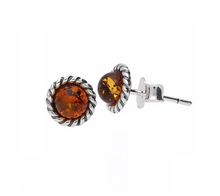Load image into Gallery viewer, Amber Rope Edge Round Stud Earrings