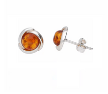 Load image into Gallery viewer, Amber Swirl Round Stud Earrings