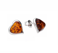 Load image into Gallery viewer, Amber Heart Stud Earrings