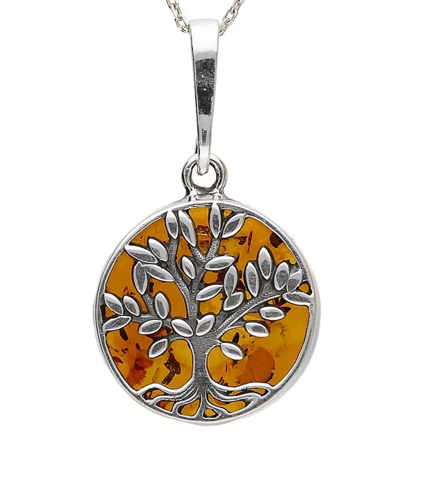 Sterling Silver Amber Small Tree Of Life Necklace