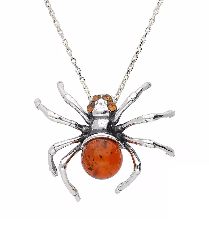 Sterling Silver Amber Spider Necklace