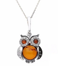 Load image into Gallery viewer, Sterling Silver Amber Cubic Zirconia Owl Necklace