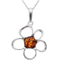 Load image into Gallery viewer, Sterling Silver Amber Flower Necklace