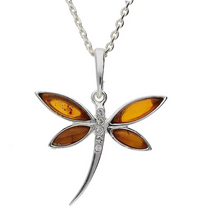 Load image into Gallery viewer, Sterling Silver Amber Cubic Zirconia Dragonfly Necklace