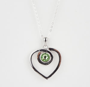 Double Sided Whitby Jet & Birthstone Heart Pendant