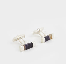Load image into Gallery viewer, Blue John Rectangular Gents Cufflinks