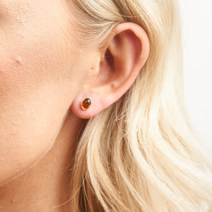 Amber Plain Oval Stud Earrings