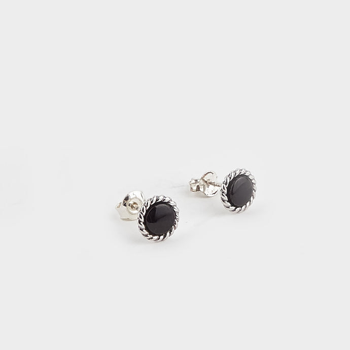 Whitby Jet Rope Edge Round Stud Earrings