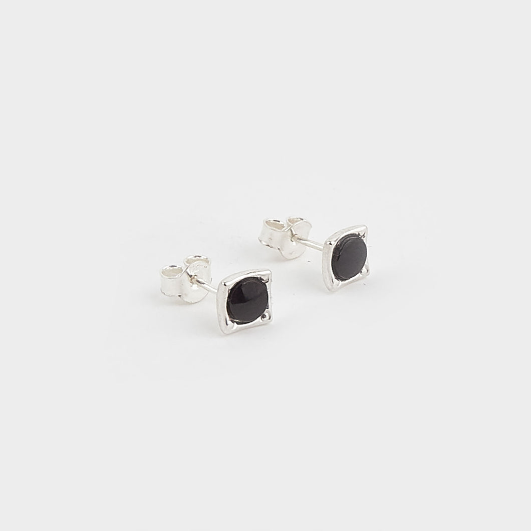 Whitby Jet Square Stud Earrings