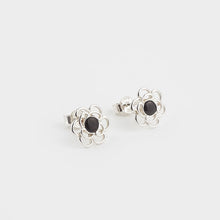 Load image into Gallery viewer, Whitby Jet Flower Stud Earrings