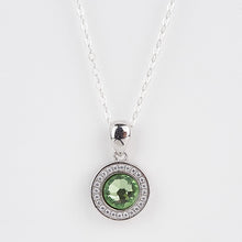 Load image into Gallery viewer, Double Sided Whitby Jet & Birthstone CZ Pendant