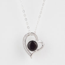 Load image into Gallery viewer, Double Sided Whitby Jet & Blue John Heart CZ Pendant