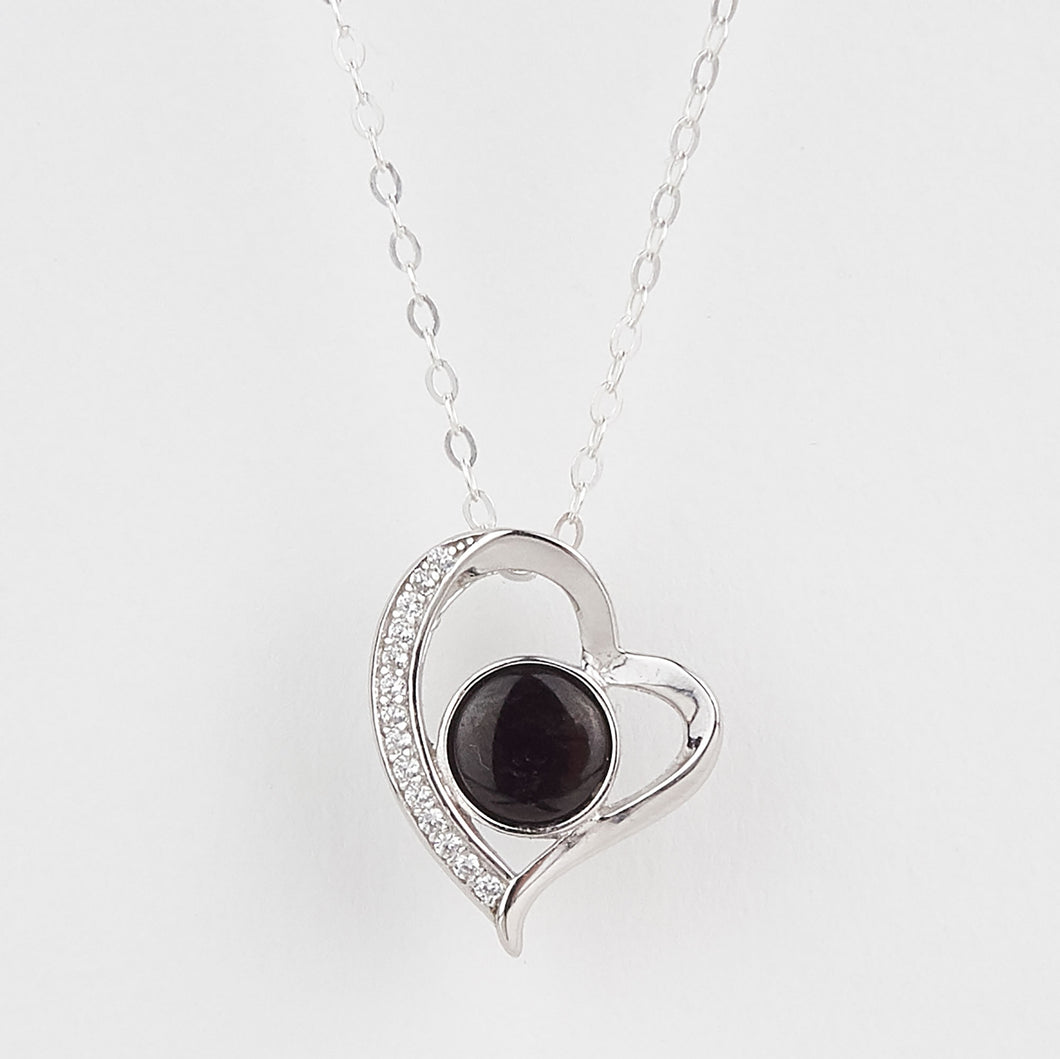 Double Sided Whitby Jet & Blue John Heart CZ Pendant
