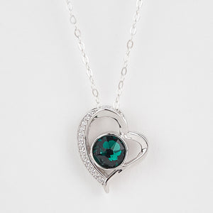 Double Sided Whitby Jet & Birthstone Heart CZ Pendant
