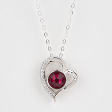 Load image into Gallery viewer, Double Sided Whitby Jet & Birthstone Heart CZ Pendant