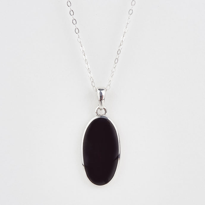 Whitby Jet Long Plain Oval Pendant