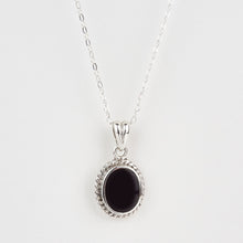Load image into Gallery viewer, Whitby Jet Small Rope Edge Oval Pendant