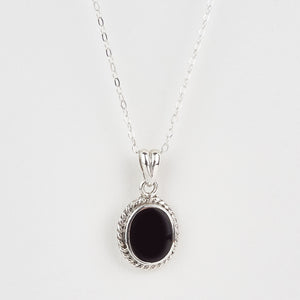Whitby Jet Small Rope Edge Oval Pendant