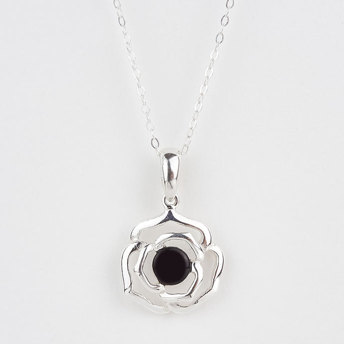 Whitby Jet Rose Pendant