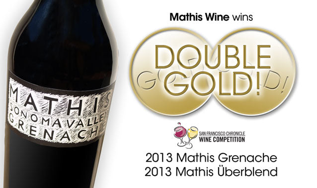 Mathis Grenache bottle with double gold medals shown at SF Chronicle Wine Competition