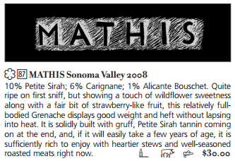 Review: Connoisseurs Guide to California Wines, July 2013, Review of 2008 Mathis Grenache
