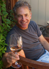 Peter Mathis with glass of Mathis Rose de Grenache