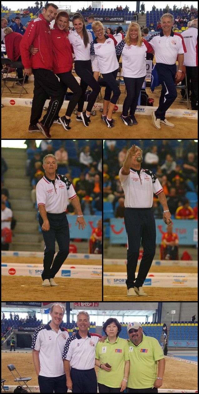 Collage of Peter Mathis and friends playing in Petanque World Championships in Ghent, Belgium