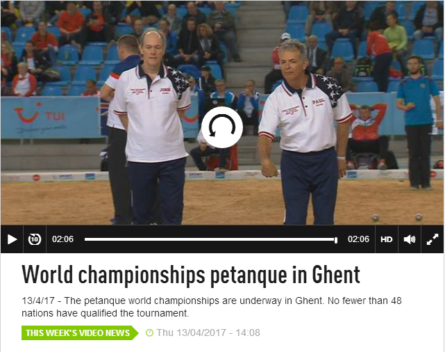 Screenshot of Flanders Belgium News video on Petanque World Championships