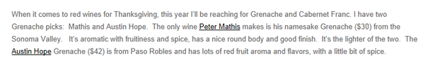 Mary Orlin, Huffington Post, 2008 Mathis Grenache Review excerpt