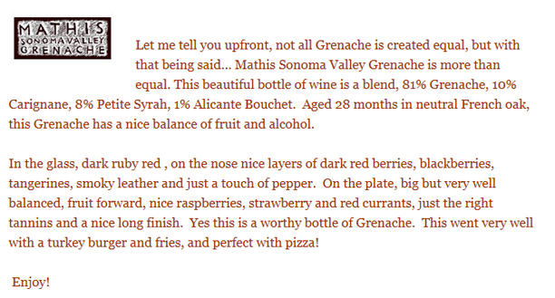Queen B, The Wine Nook, Mathis Grenache Review