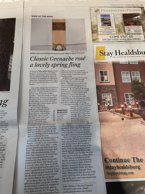 SF Chronicle print review of Mathis Rose de Grenache wine