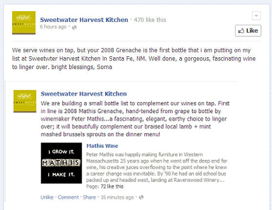 Mathis Grenache Review - Facebook Snapshot: Sweetwater Harvest Kitchen